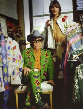 Nudie & his muse Gram Parsons at the tailor's studio