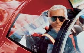 Ralph Lauren in one of his 16 Ferraris
