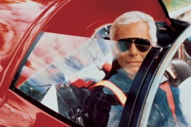 Ralph Lauren in one of his 16 Ferraris