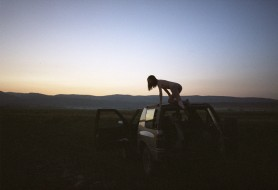 Desert sunset, with motor...
